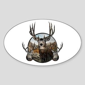 Mule deer oil painting Sticker (Oval)