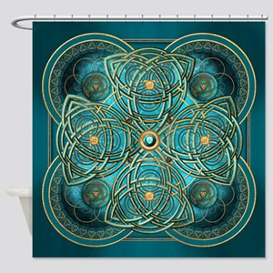 Teal Celtic Tapestry Shower Curtain
