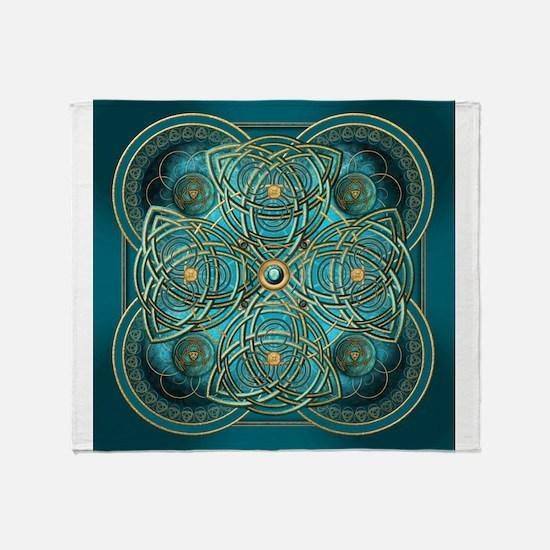 Teal Celtic Tapestry Throw Blanket
