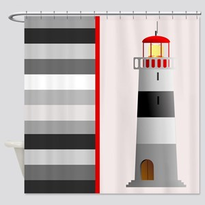 Lighthouse and Stripes Shower Curtain