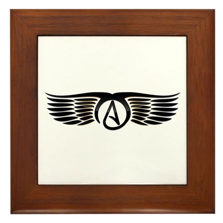 Atheist Wings Framed Tile