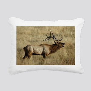 Bull Elk Bugling Rectangular Canvas Pillow
