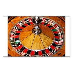 Casino roulette wheel La Sticker (Rectangle 50 pk)