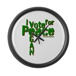 I Vote for Peace Go Vegan Large Wall Clock