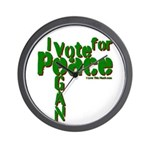 I Vote for Peace Go Vegan Wall Clock