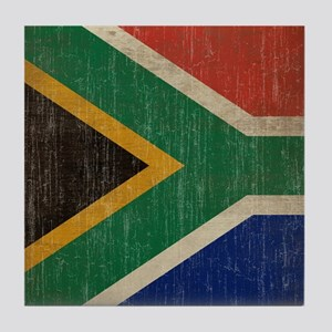 Vintage South Africa Flag Tile Coaster
