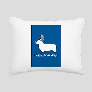 "Corgi ""Happy Howlidays"" Rectangular Canvas Pillow"