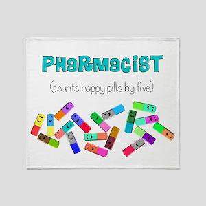 pharmacist counts happy pills Throw Blanket