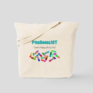 pharmacist counts happy pills Tote Bag