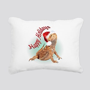 Bearded Dragon Santa Rectangular Canvas Pillow
