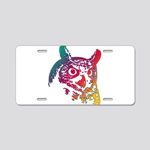Colorful Owl Aluminum License Plate