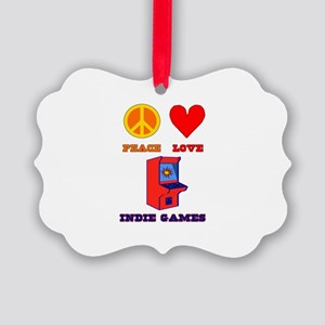 Peace Love Indie Games Picture Ornament