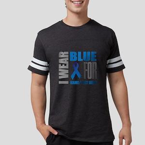 Blue Awareness Ribbon Customiz Mens Football Shirt