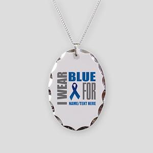 Blue Awareness Ribbon Customiz Necklace Oval Charm