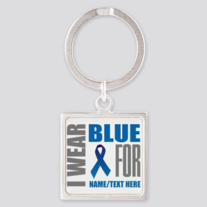 Blue Awareness Ribbon Customized Square Keychain