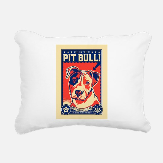 Obey the Pit Bull! USA Rectangular Canvas Pillow