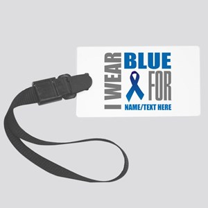 Blue Awareness Ribbon Customized Large Luggage Tag