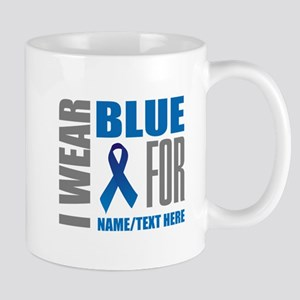 Blue Awareness Ribbon Customized 11 oz Ceramic Mug