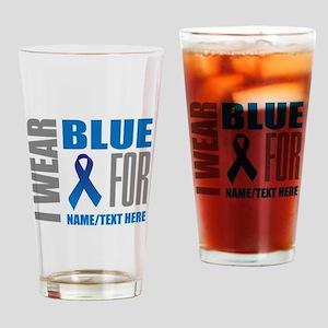Blue Awareness Ribbon Customized Drinking Glass