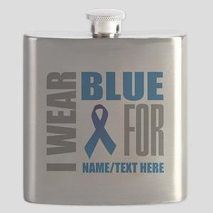 Blue Awareness Ribbon Customized Flask