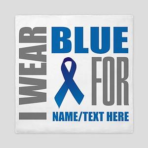 Blue Awareness Ribbon Customized Queen Duvet