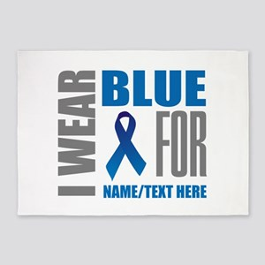 Blue Awareness Ribbon Customized 5'x7'Area Rug