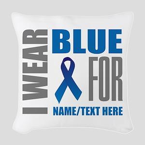 Blue Awareness Ribbon Customiz Woven Throw Pillow