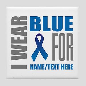 Blue Awareness Ribbon Customized Tile Coaster