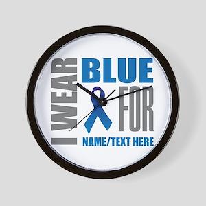 Blue Awareness Ribbon Customized Wall Clock