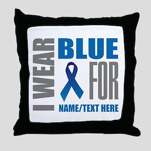 Blue Awareness Ribbon Customized Throw Pillow