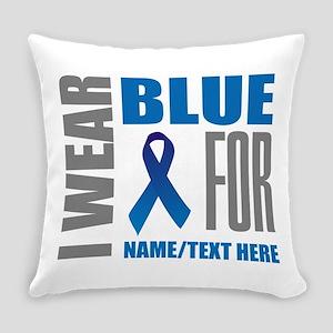 Blue Awareness Ribbon Customized Everyday Pillow