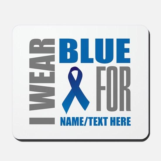 Blue Awareness Ribbon Customized Mousepad