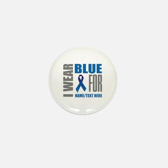 Blue Awareness Ribbon Customized Mini Button