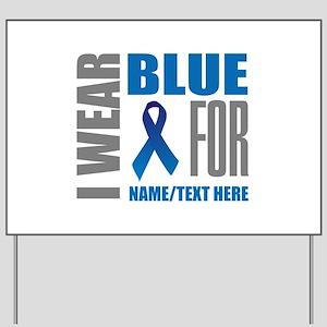 Blue Awareness Ribbon Customized Yard Sign