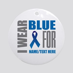 Blue Awareness Ribbon Customized Round Ornament