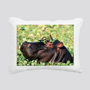 Casanova Hippopotamus Rectangular Canvas Pillow