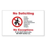 No Soliciting Sign-2011- Sticker (Rectangle 50 pk)