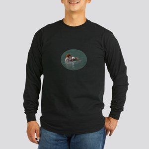 Merganser on Emerald Water Long Sleeve Dark T-Shir