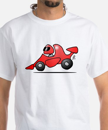Red race car White T-Shirt