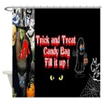 Halloween Witch Trick and Treat Shower Curtain