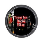 Halloween Witch Trick and Treat Wall Clock