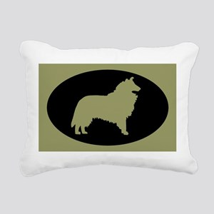 Sage & Black Collie Rectangular Canvas Pillow