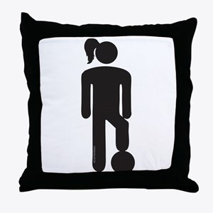 Female Soccer Player Throw Pillow