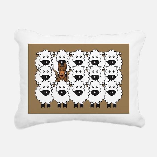 Red Kelpie and Sheep Rectangular Canvas Pillow