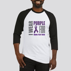 Purple Awareness Ribbon Customized Baseball Tee