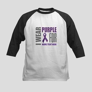 Purple Awareness Ribbon Customiz Kids Baseball Tee