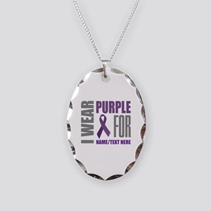 Purple Awareness Ribbon Custom Necklace Oval Charm