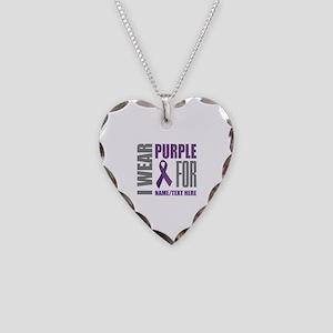 Purple Awareness Ribbon Custo Necklace Heart Charm