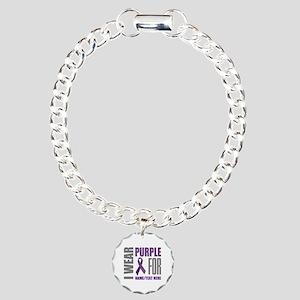 Purple Awareness Ribbon Charm Bracelet, One Charm