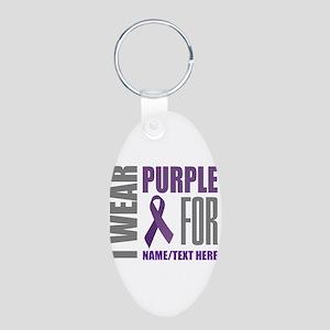 Purple Awareness Ribbon Cus Aluminum Oval Keychain